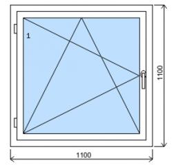Okno plastové š.1100/v.1100, bílá/zlatý dub, levé