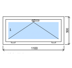 Okno plastové š.1100/v.500, bílá/bílá, výklopné