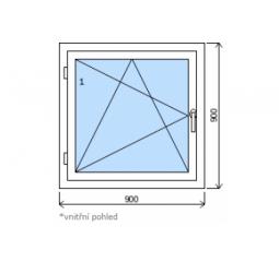 Okno plastové š.900/v.900, bílá/zlatý dub, levé