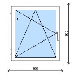 Okno plastové š.800/v.900, bílá/zlatý dub, levé