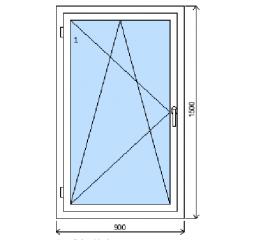Okno plastové š.900/v.1500, bílá/bílá, levé