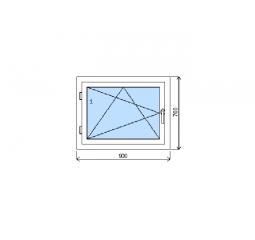 Okno plastové š.900/v.700, bílá/zlatý dub, levé