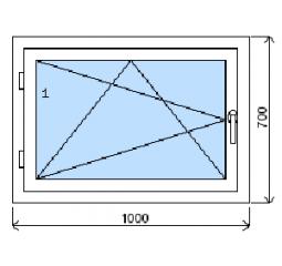 Okno plastové š.1000/v.700, bílá/bílá, levé