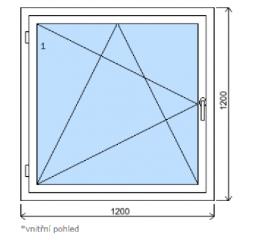 Okno plastové š.1200/v.1200, bílá/zlatý dub, levé