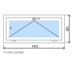 Okno plastové š.1100/v.500, bílá/zlatý dub, výklopné