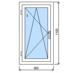 Okno plastové š.600/v.1100, bílá/zlatý dub, levé