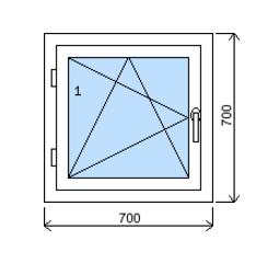 Okno plastové š.700/v.700, bílá/zlatý dub, levé