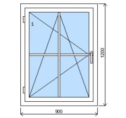 Okno plastové š.900/v.1200 bílá/zlatý dub mřížka