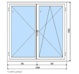 Okno plastové š.1500/v.1500, bílá/zlatý dub, dvoukřídlé
