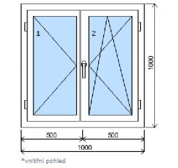 Okno plastové š.1000/v.1000 bílá/zlatý dub, dvoukřídlé