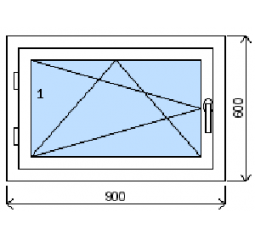 Okno plastové š.900/v.600, bílá/zlatý dub, levé