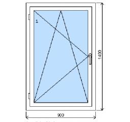 Okno plastové š.900/v.1400, bílá/bílá, levé