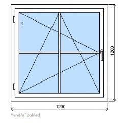Okno plastové š.1200/v.1200, bílá/bílá, s mřížkou